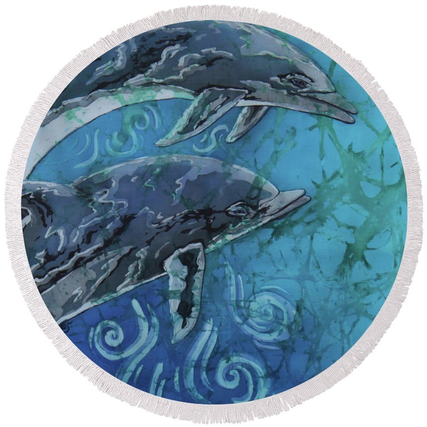 Porpoise Round Beach Towel featuring the painting Porpoise Pair - Close Up by Sue Duda