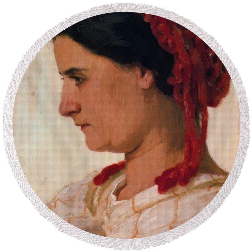 Portrait Round Beach Towel featuring the painting Portrait Of Angela B Cklin In Red Fishnet by Bocklin Arnold