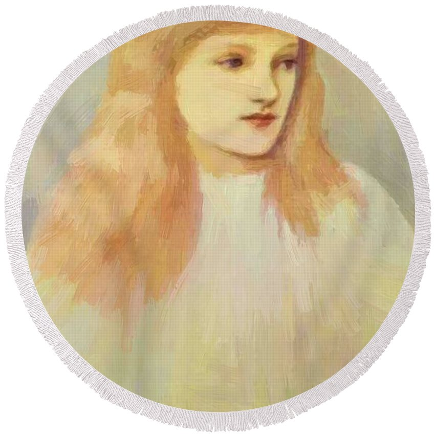 Portrait Round Beach Towel featuring the painting Portrait Of Cecily Horner by BurneJones Edward