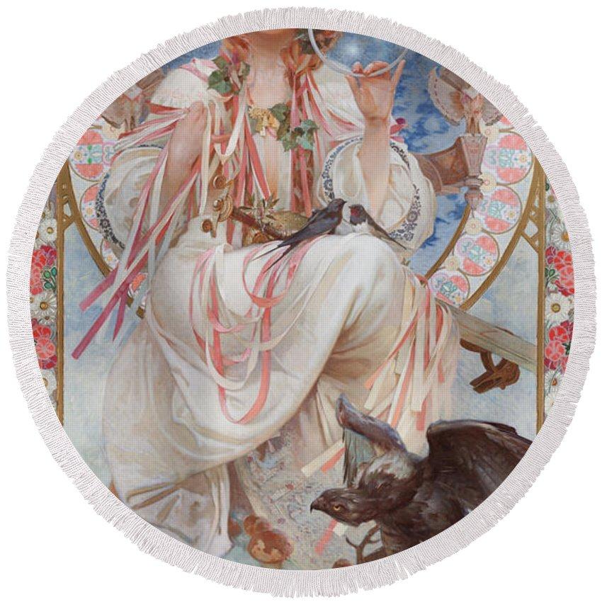 Mucha Round Beach Towel featuring the painting Portrait Of Josephine Crane Bradley As Slavia by Alphonse Marie Mucha