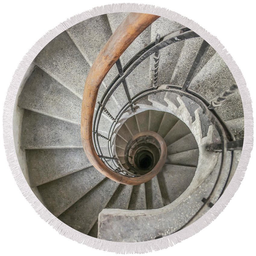 Stairway Round Beach Towel featuring the photograph Pretty Stone Spiral Staircase by Jaroslaw Blaminsky