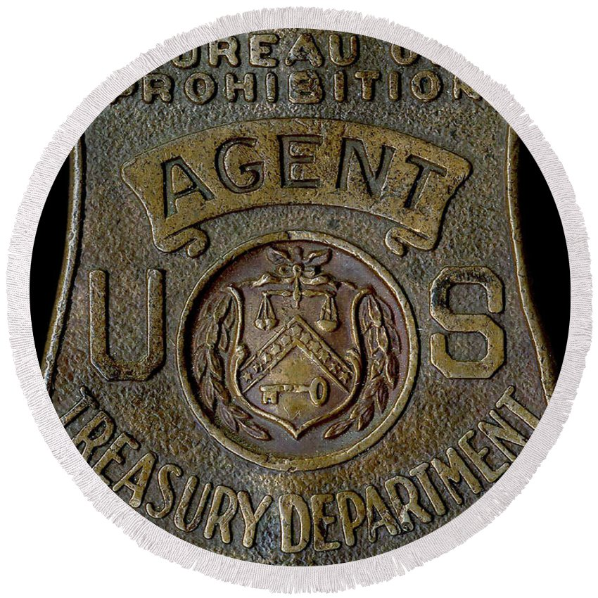 Prohibition Agent Badge Round Beach Towel featuring the photograph Prohibition Agent Badge by Jon Neidert