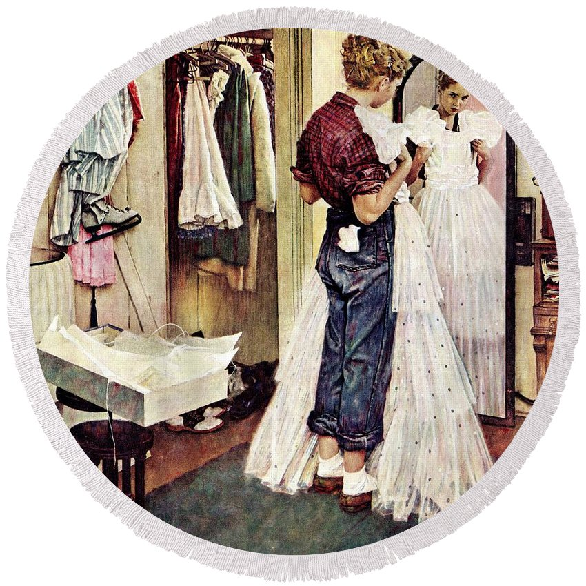 Dresses Round Beach Towel featuring the drawing Prom Dress by Norman Rockwell