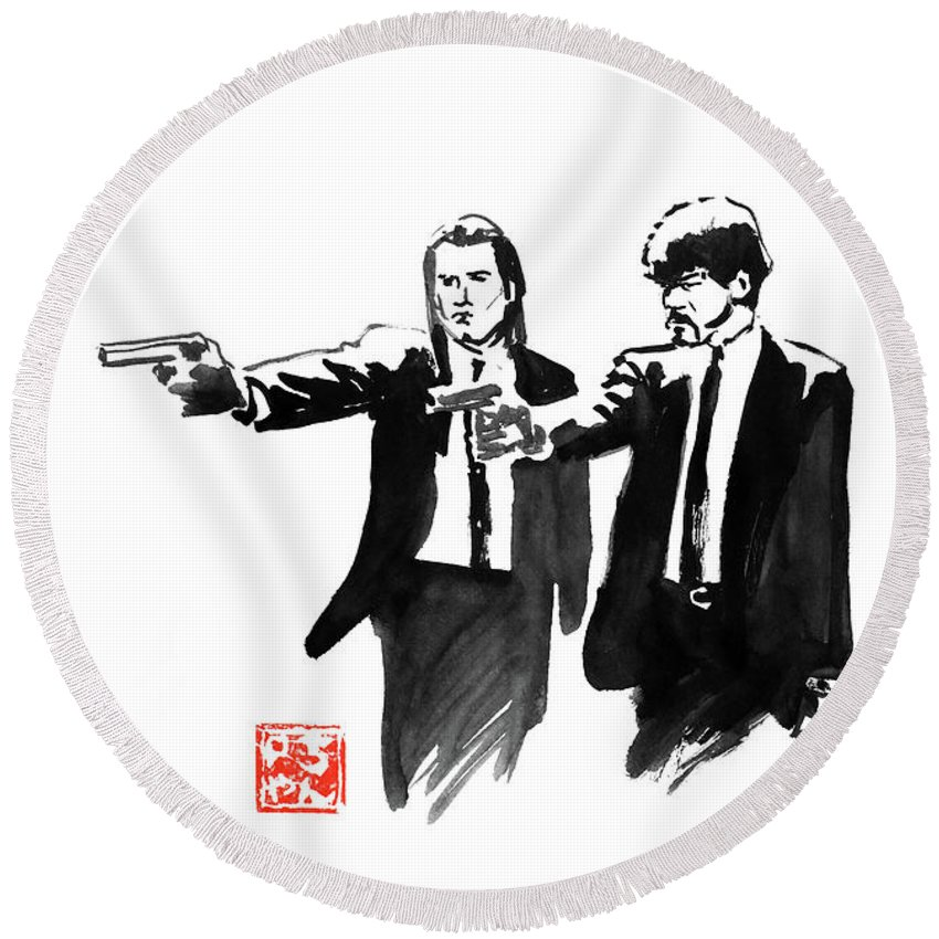 Pulp Fiction Round Beach Towel featuring the painting Pulp Fiction by Pechane Sumie