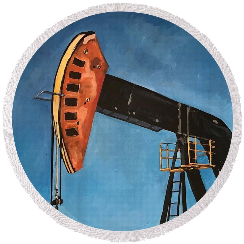 Pump Jack Round Beach Towel featuring the painting Pump Jack by Norman Burnham
