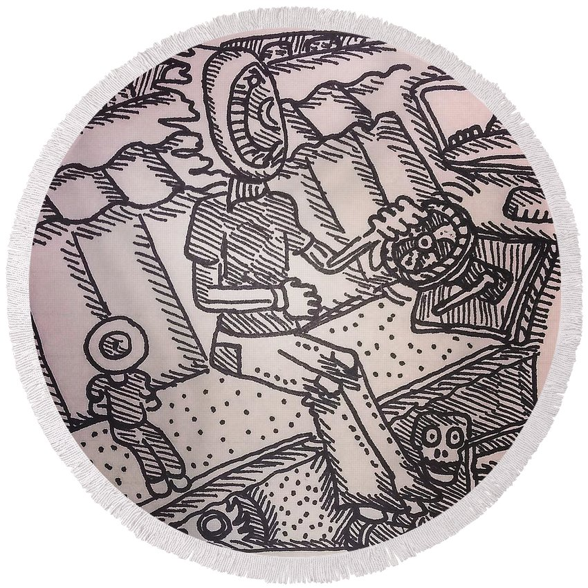 Eye Pen Crosshatch Ink Trippy Car Interior Round Beach Towel featuring the drawing Pupil And Student by Mark Borek