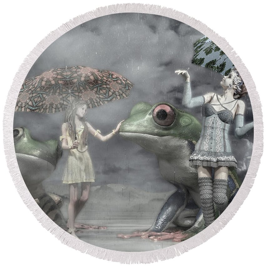Frog Round Beach Towel featuring the digital art Rainy Day Daydream by Betsy Knapp