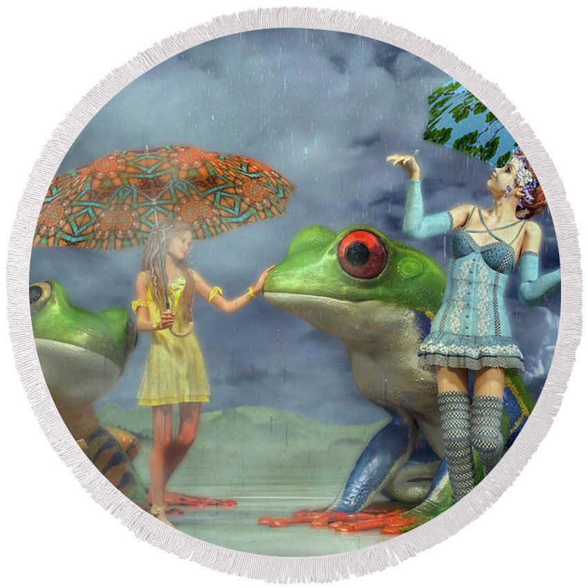 Frog Round Beach Towel featuring the digital art Rainy Day Friends by Betsy Knapp