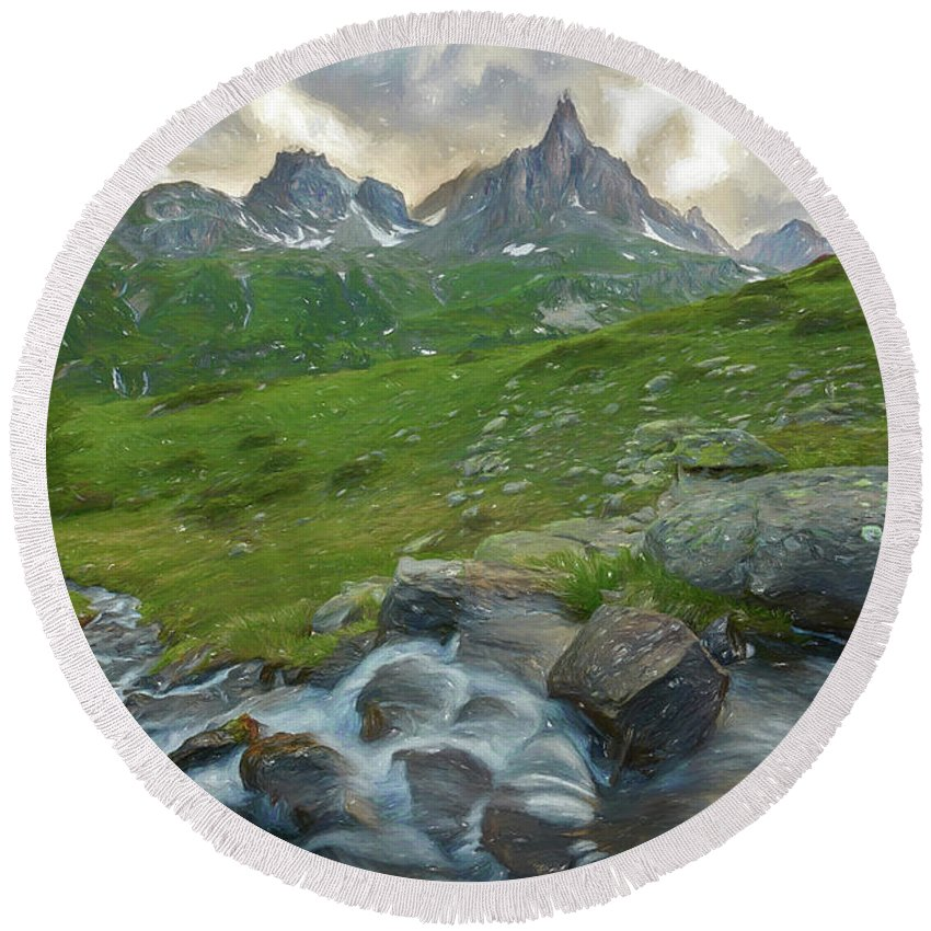 Courmayeur Round Beach Towel featuring the digital art Range In The Claree Valley II by Jon Glaser
