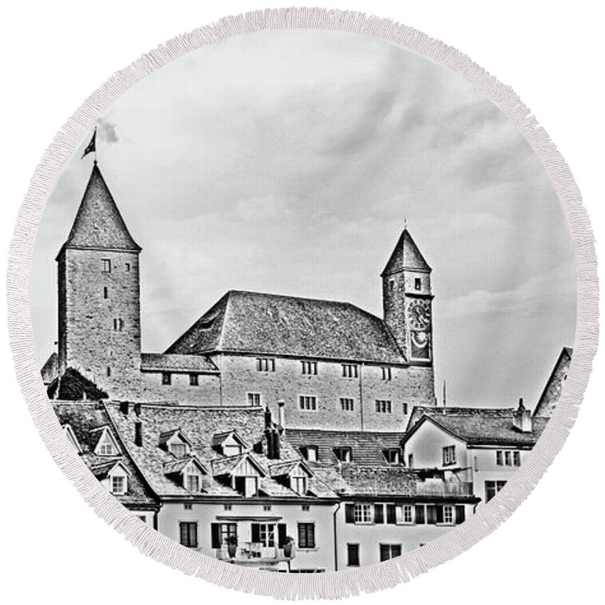 Rapperswil Round Beach Towel featuring the photograph Rapperswil Castle 2 by DiFigiano Photography