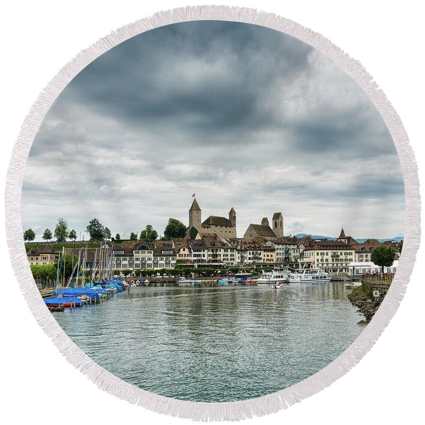 Rapperswil Round Beach Towel featuring the photograph Rapperswil Castle by DiFigiano Photography