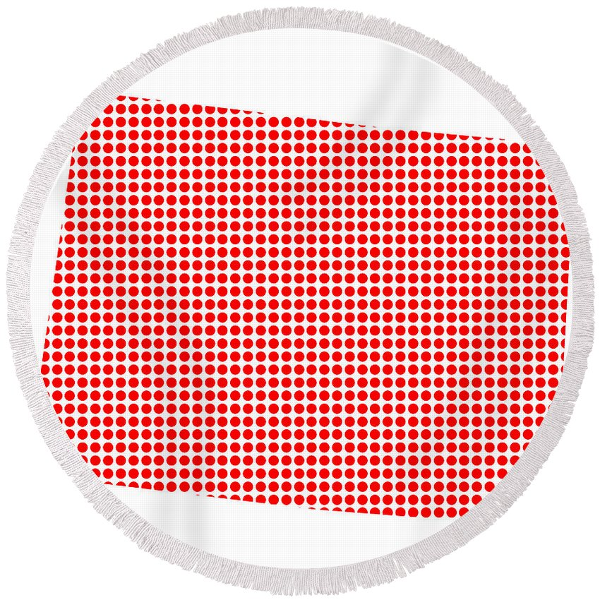 Colorado Round Beach Towel featuring the digital art Red Dot Map Of Colorado by Bigalbaloo Stock