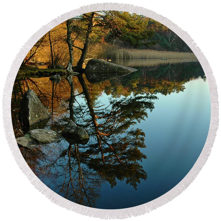Reflections Round Beach Towel featuring the photograph Reflections In The Lac De Marle by Michael Briley