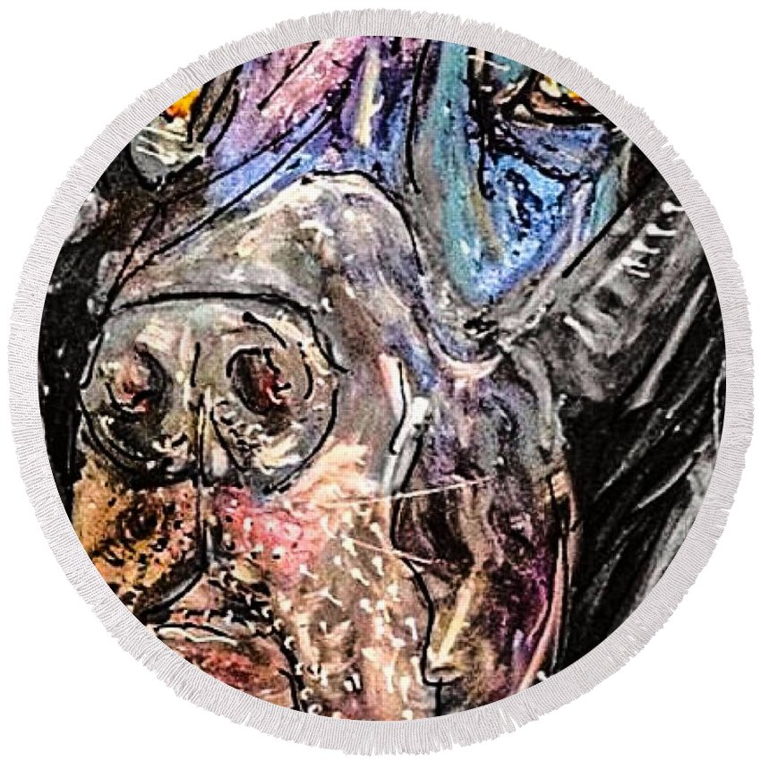 Great Dane Round Beach Towel featuring the painting Regal Royale by Paula Baker