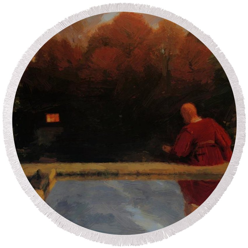 Returning Round Beach Towel featuring the painting Returning Home 1887 by Bocklin Arnold