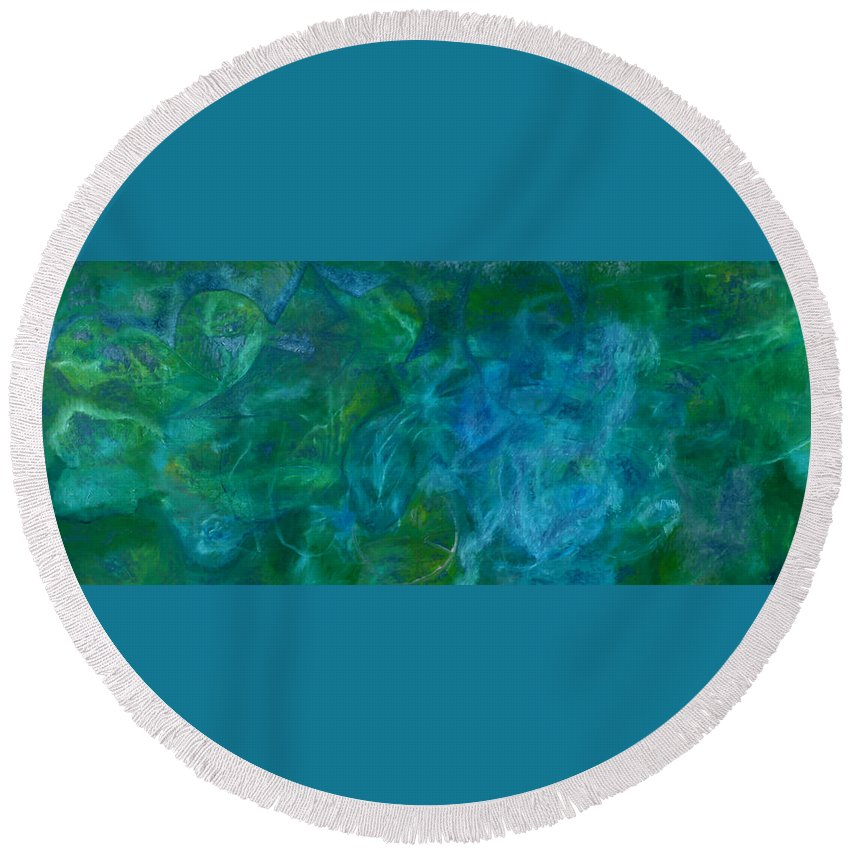 Green Round Beach Towel featuring the painting River Reflection by Artist Dot