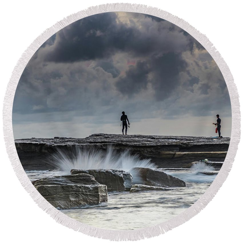 Australia Round Beach Towel featuring the photograph Rock Ledge, Spear Fishermen And Cloudy Seascape by Merrillie Redden