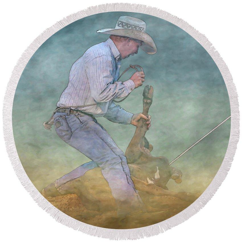 Rodeo Calf Roper Round Beach Towel featuring the digital art Rodeo Calf Roper by Randy Steele