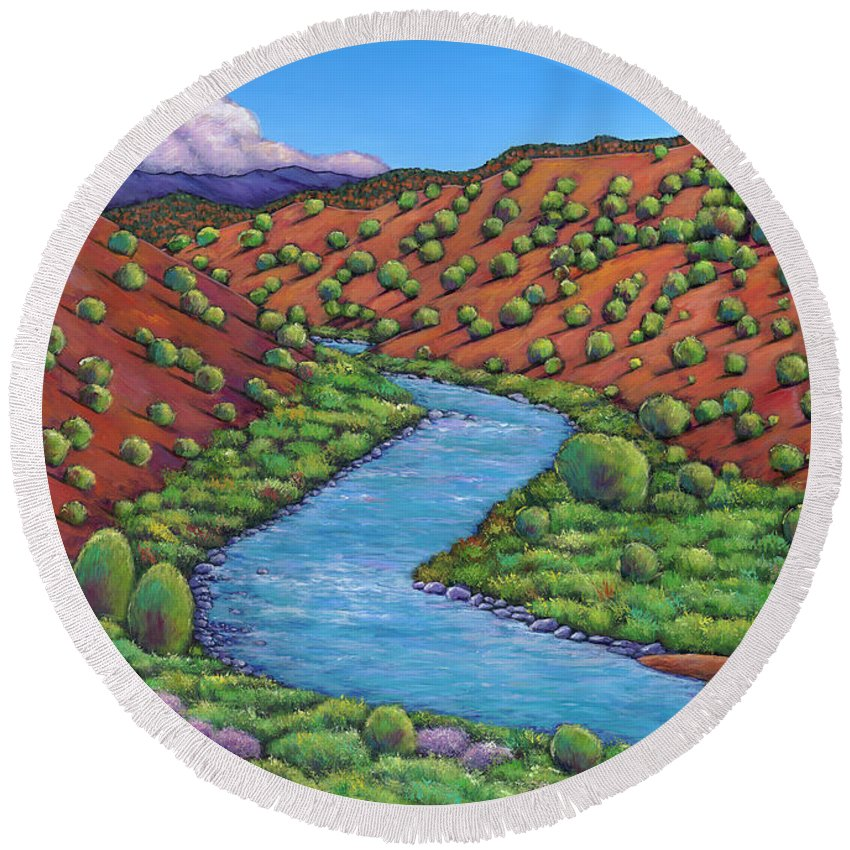 Landscape Round Beach Towel featuring the painting Rolling Rio Grande by Johnathan Harris