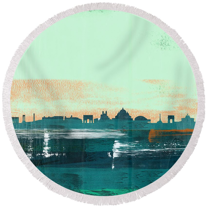 Rome Round Beach Towel featuring the mixed media Rome Abstract Skyline I by Naxart Studio