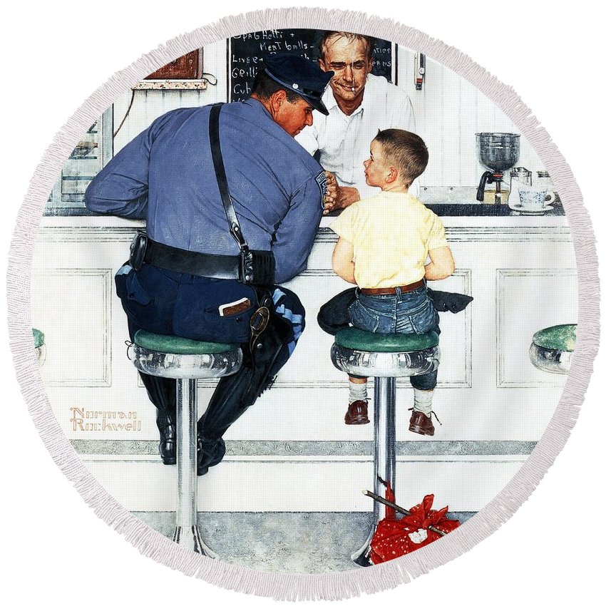 Boy Round Beach Towel featuring the drawing Runaway by Norman Rockwell
