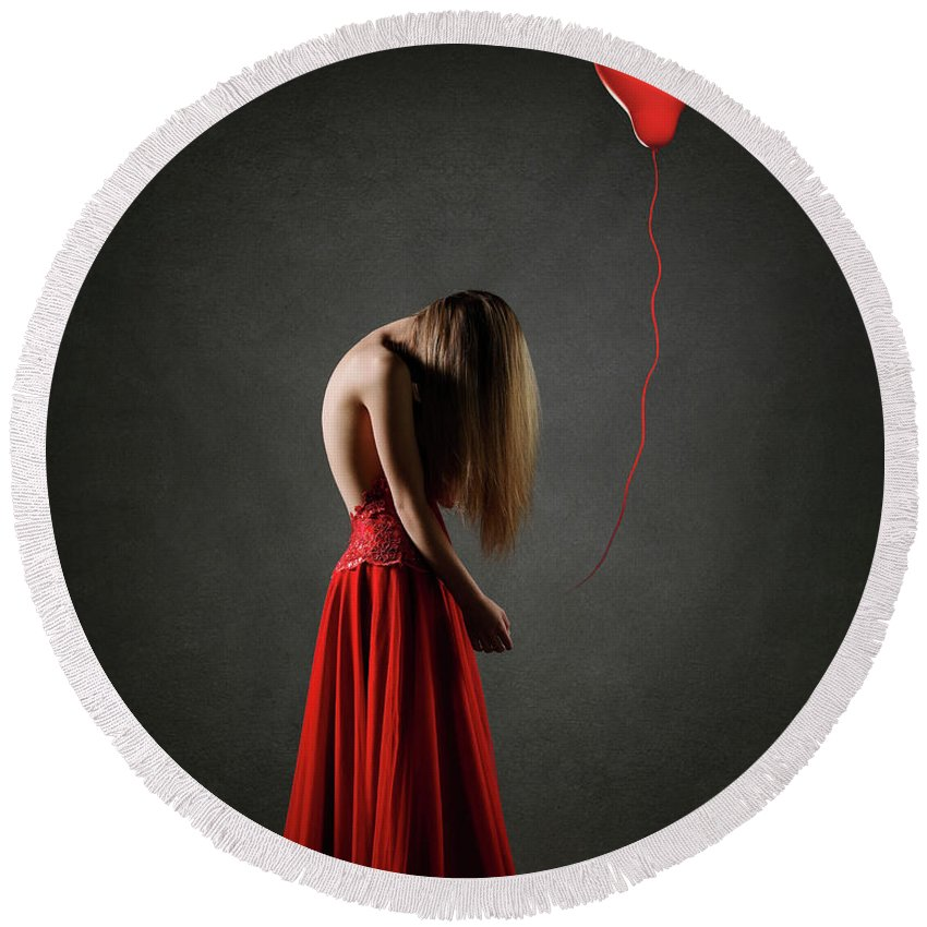 Woman Round Beach Towel featuring the photograph Sad Woman In Red by Johan Swanepoel
