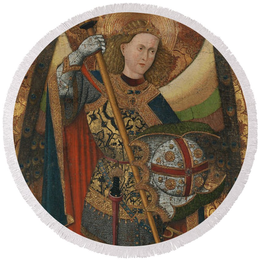 Spanish Art Round Beach Towel featuring the painting Saint Michael by Master of Belmonte