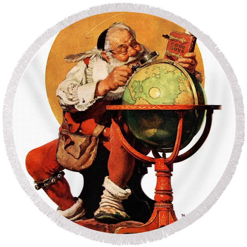 Globes Round Beach Towel featuring the drawing Santa At The Globe by Norman Rockwell