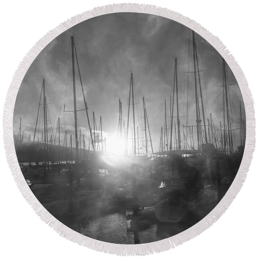 Sausalito Round Beach Towel featuring the photograph Sausalito California Mystical Magical Harbor Sunrise by Betsy Knapp