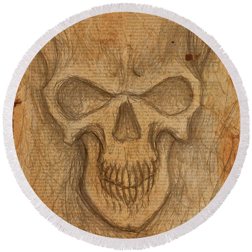 Skull Round Beach Towel featuring the drawing Scratch Skull by Shawn Dooley