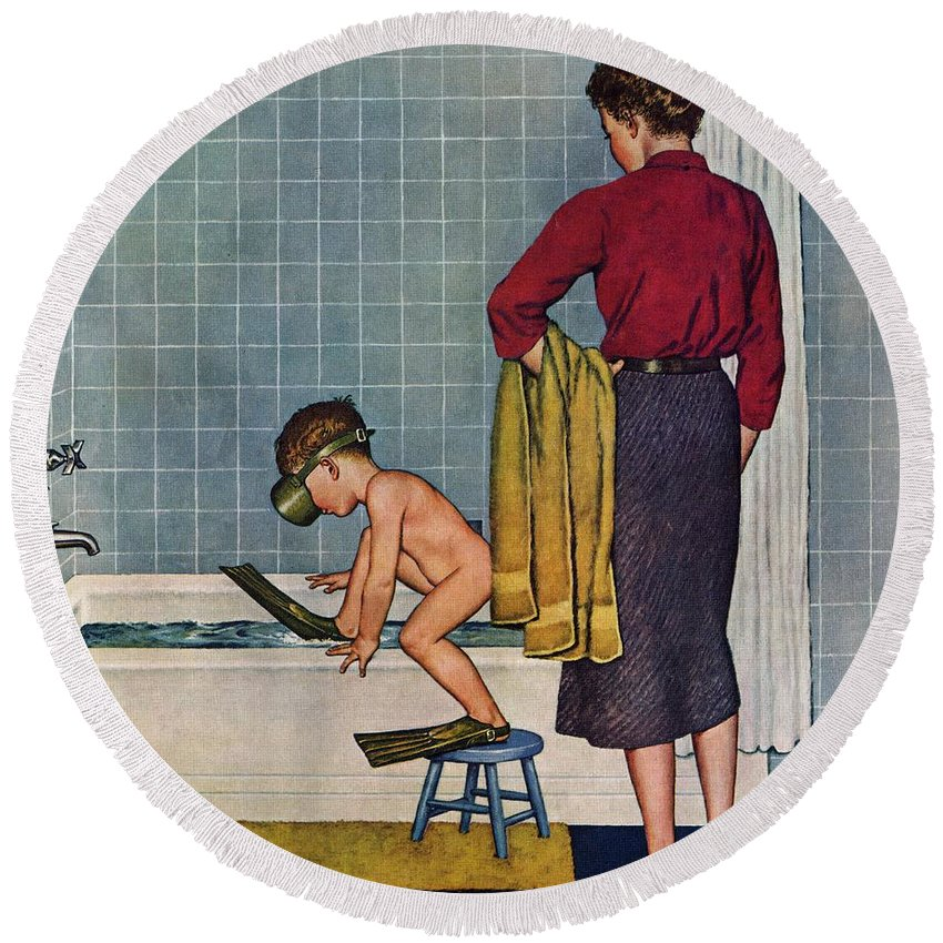 Bathing Round Beach Towel featuring the drawing Scuba In The Tub by Amos Sewell