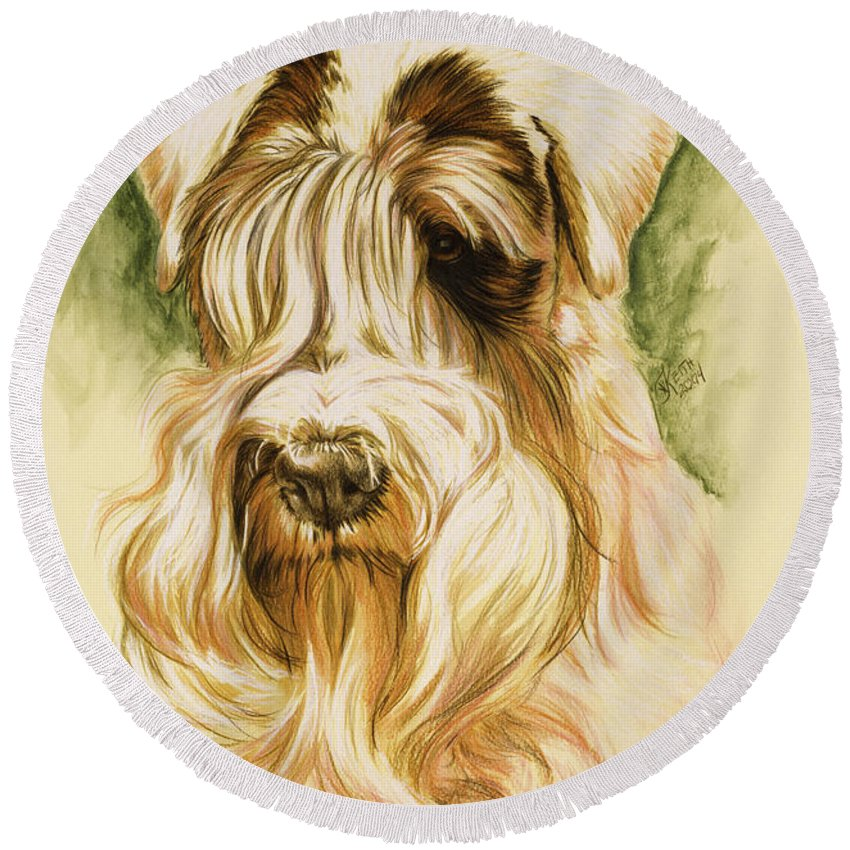 Purebred Dog Round Beach Towel featuring the painting Sealyham Terrier by Barbara Keith
