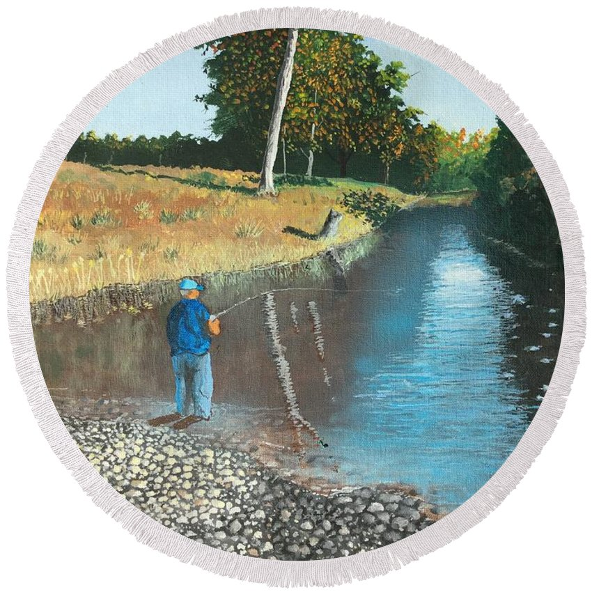Fishing Round Beach Towel featuring the painting Serenity by Norm Starks