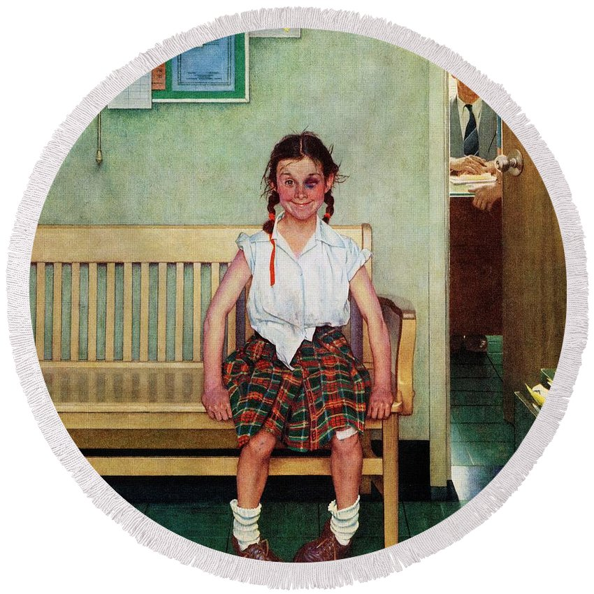 Black Eyes Round Beach Towel featuring the drawing Shiner by Norman Rockwell