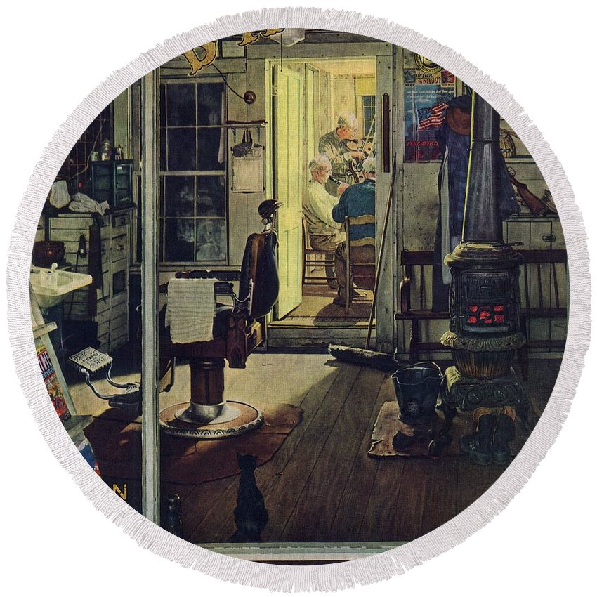 Barbers Round Beach Towel featuring the drawing Shuffleton's Barbershop by Norman Rockwell