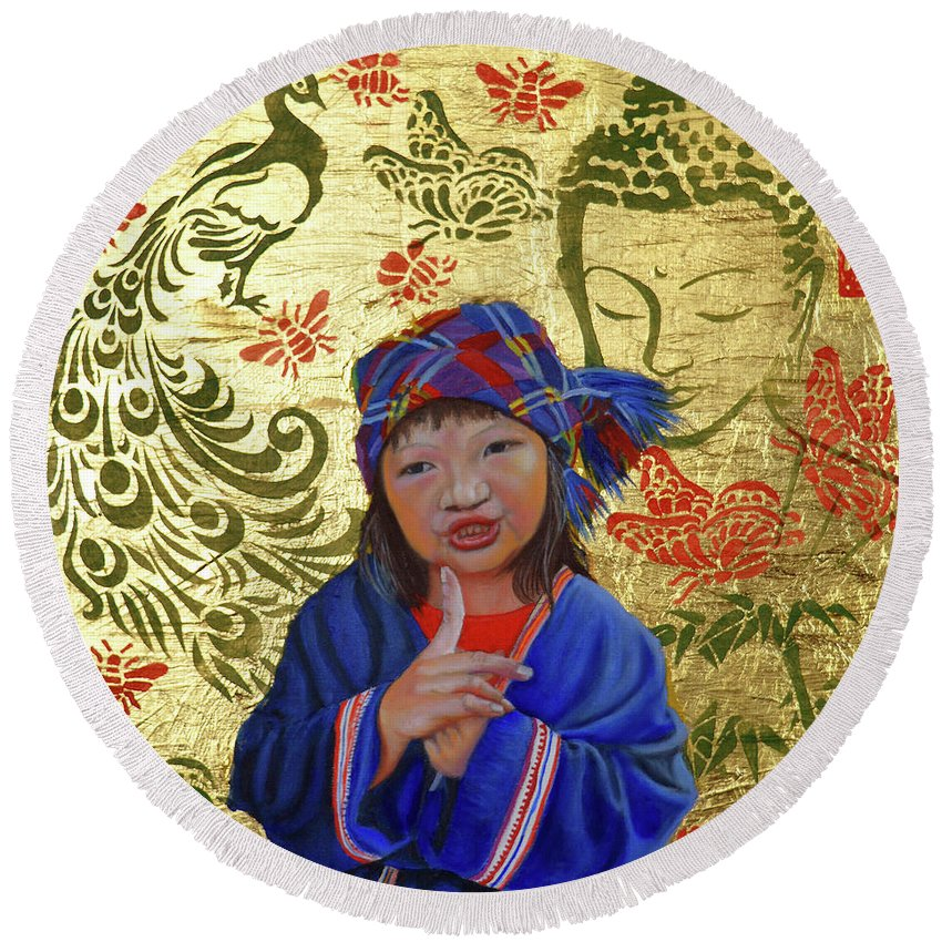 Original Painting Round Beach Towel featuring the painting Silent by Thu Nguyen