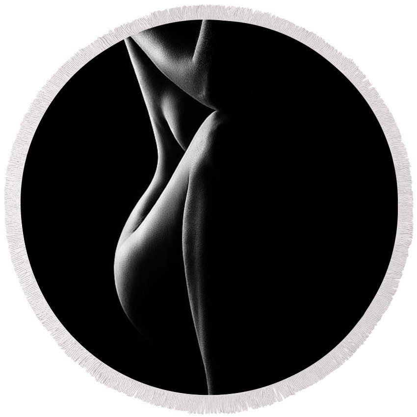 Nude Round Beach Towel featuring the photograph Silhouette Of Nude Woman In Bw by Johan Swanepoel