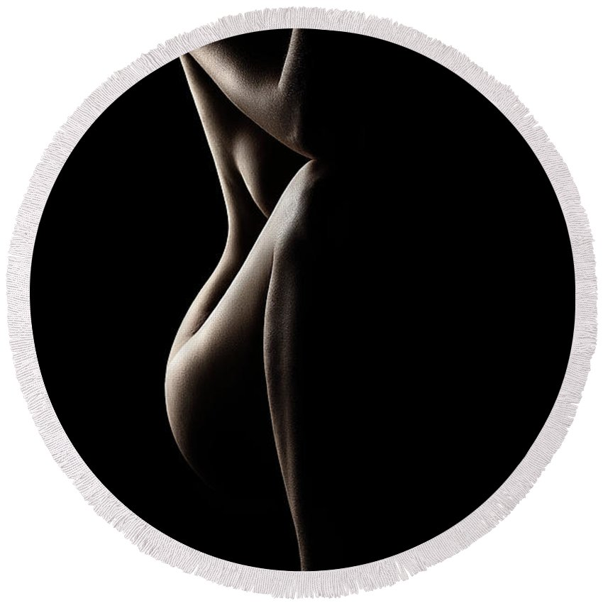 Nude Round Beach Towel featuring the photograph Silhouette Of Nude Woman by Johan Swanepoel