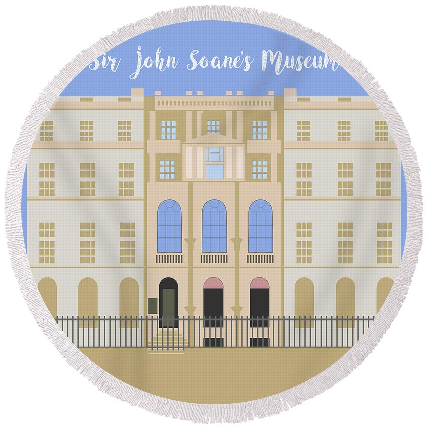 Blue Round Beach Towel featuring the digital art Sir John Soane's Museum by Claire Huntley