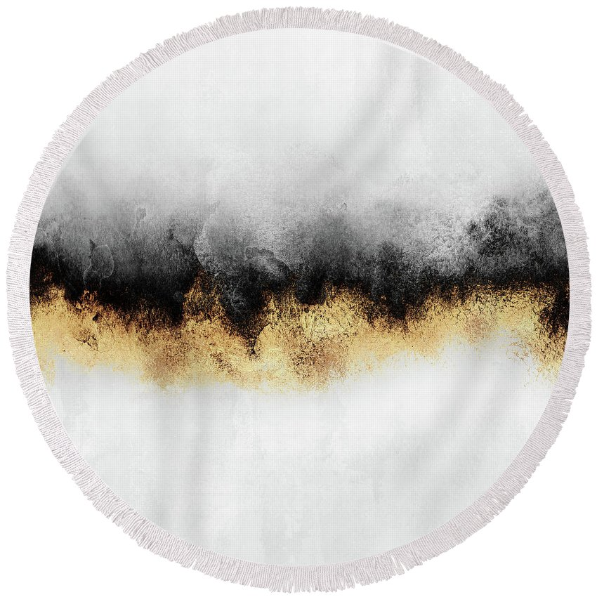 Abstract Round Beach Towel featuring the mixed media Sky 2 by Elisabeth Fredriksson