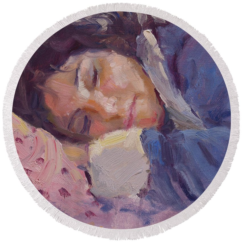 Sleeping Lady Round Beach Towel featuring the painting Sleeping Lady by Ylli Haruni