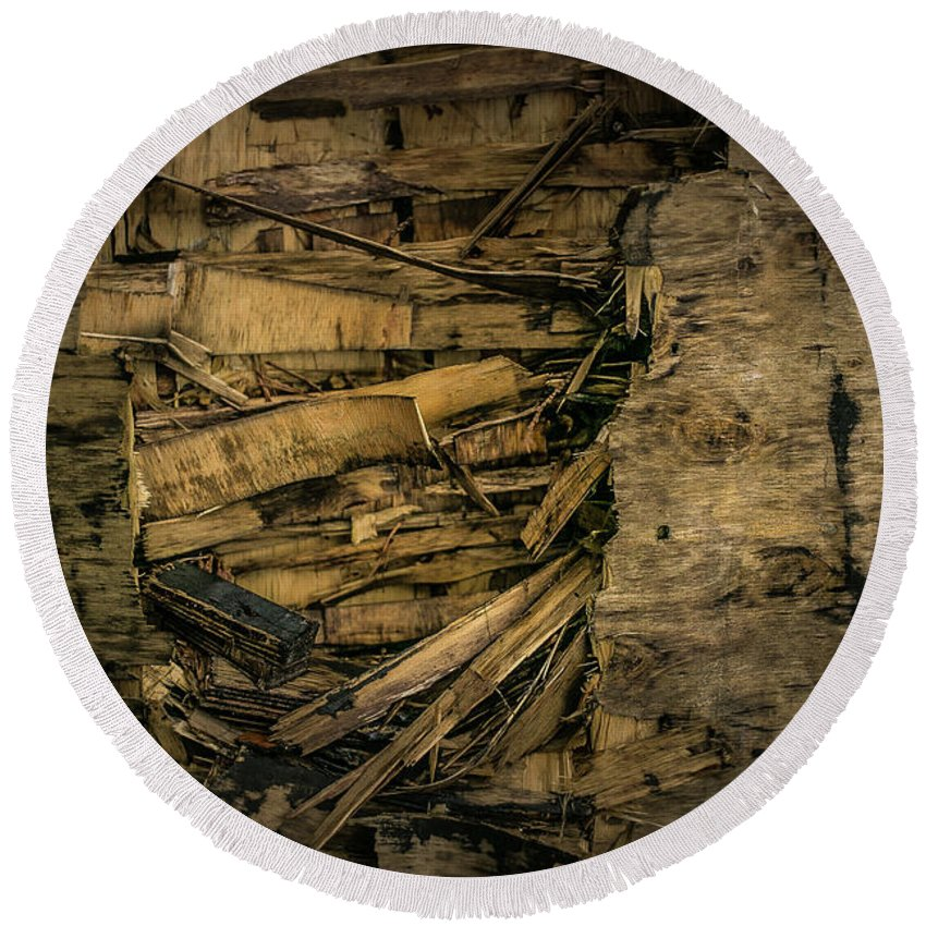 Nature Round Beach Towel featuring the photograph Smashed Wooden Wall by Juan Contreras