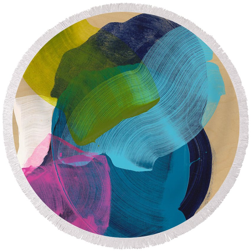 Abstract Round Beach Towel featuring the painting Socal 02 by Claire Desjardins