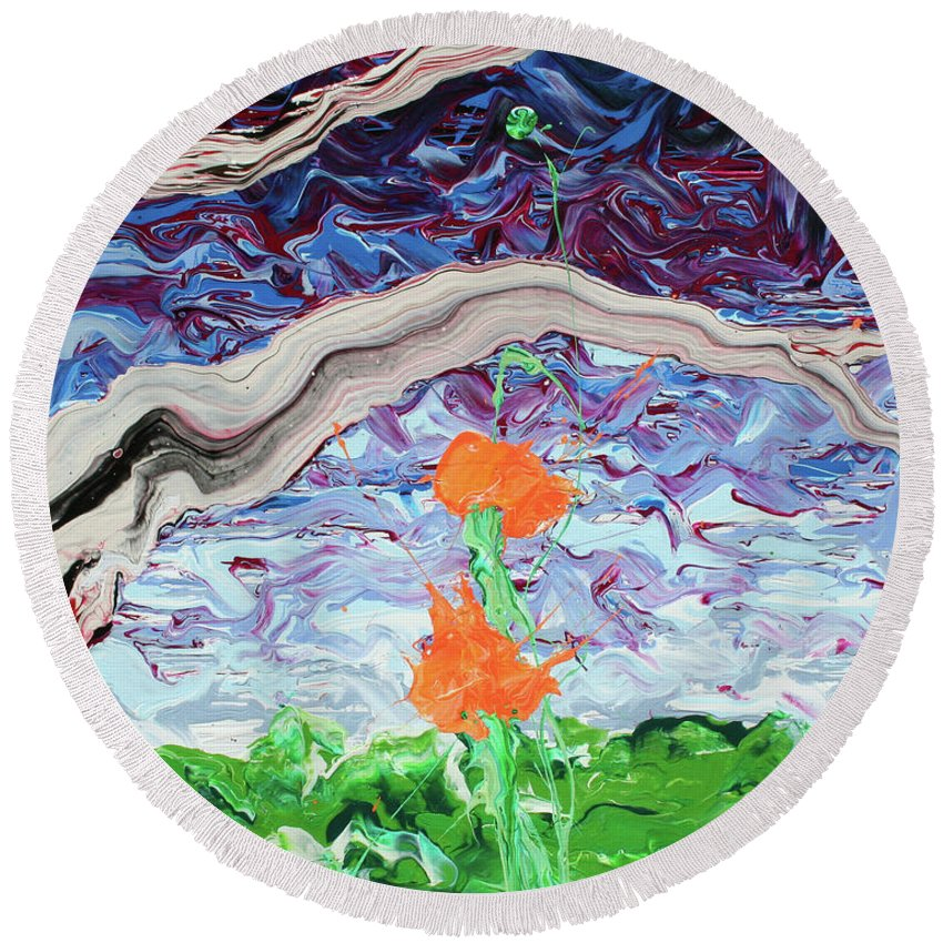 Summer Round Beach Towel featuring the painting Something Pretentious About Duality by Ric Bascobert
