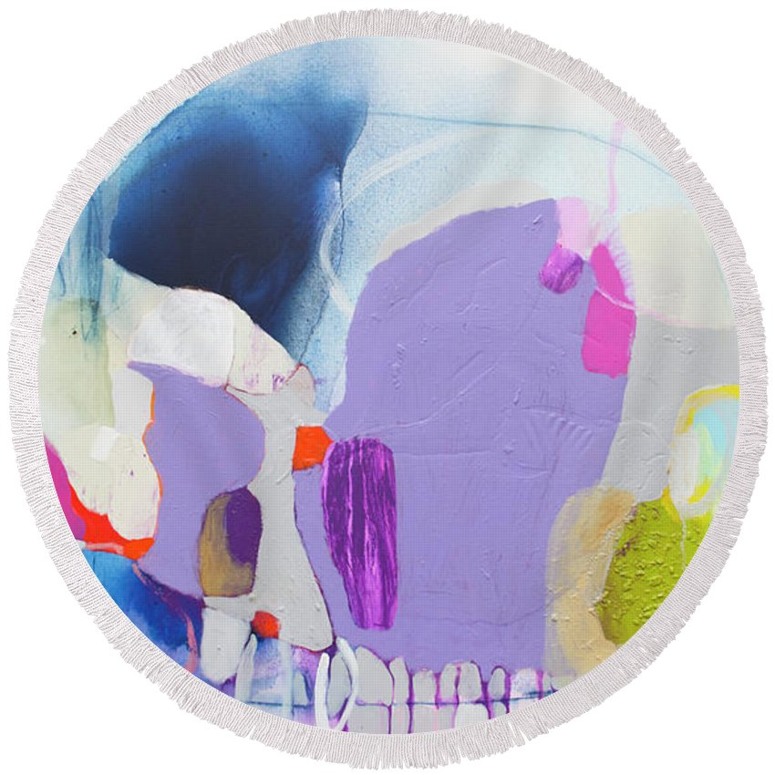 Abstract Round Beach Towel featuring the painting Sometime In June by Claire Desjardins
