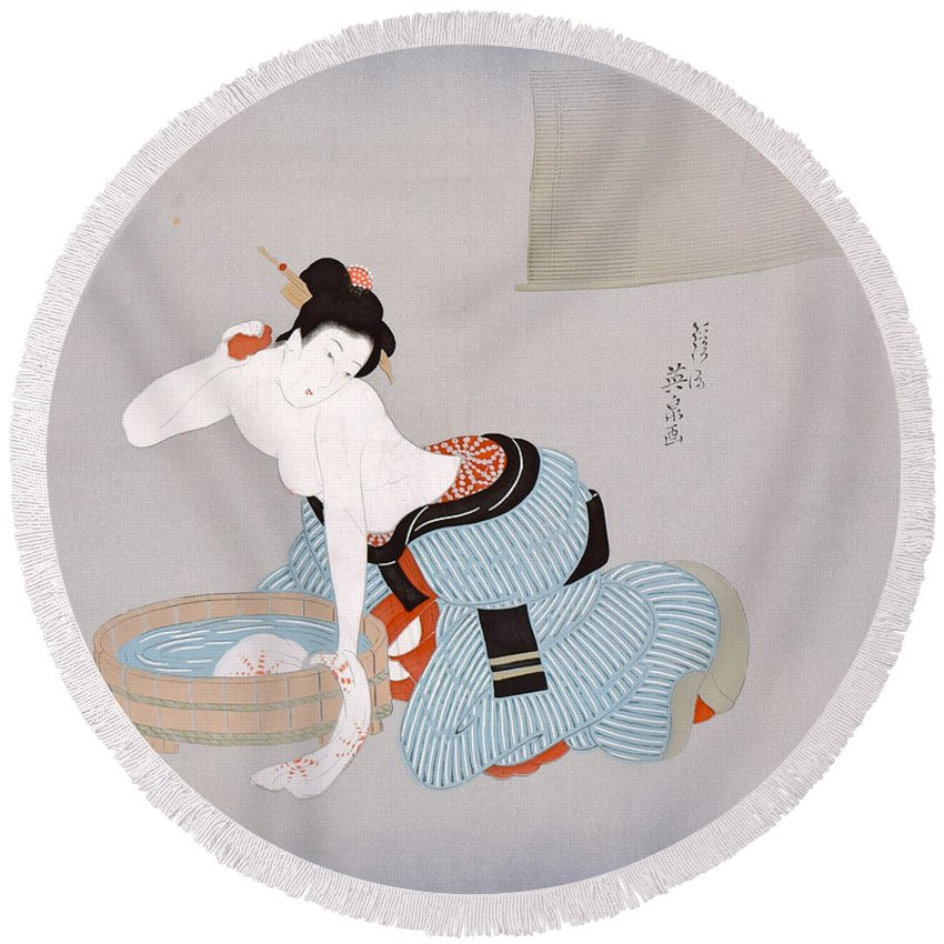 Round Beach Towel featuring the digital art Spirit of Japan M11 by Miho Kanamori