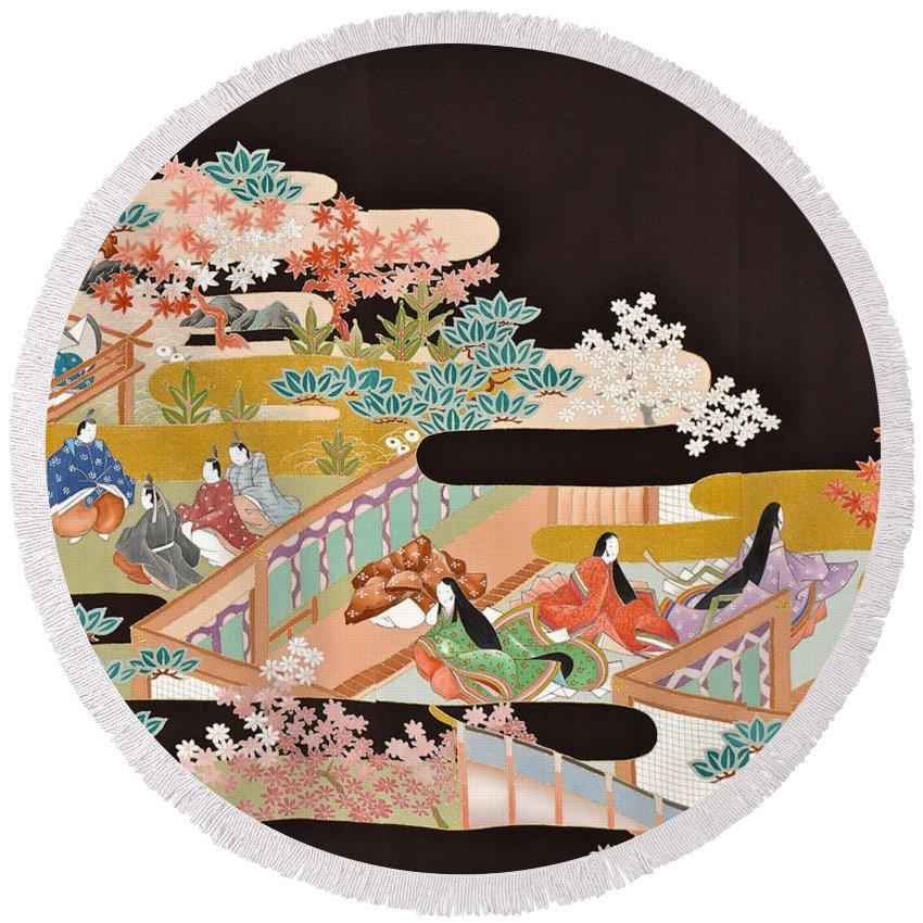 Round Beach Towel featuring the digital art Spirit of Japan T18 by Miho Kanamori