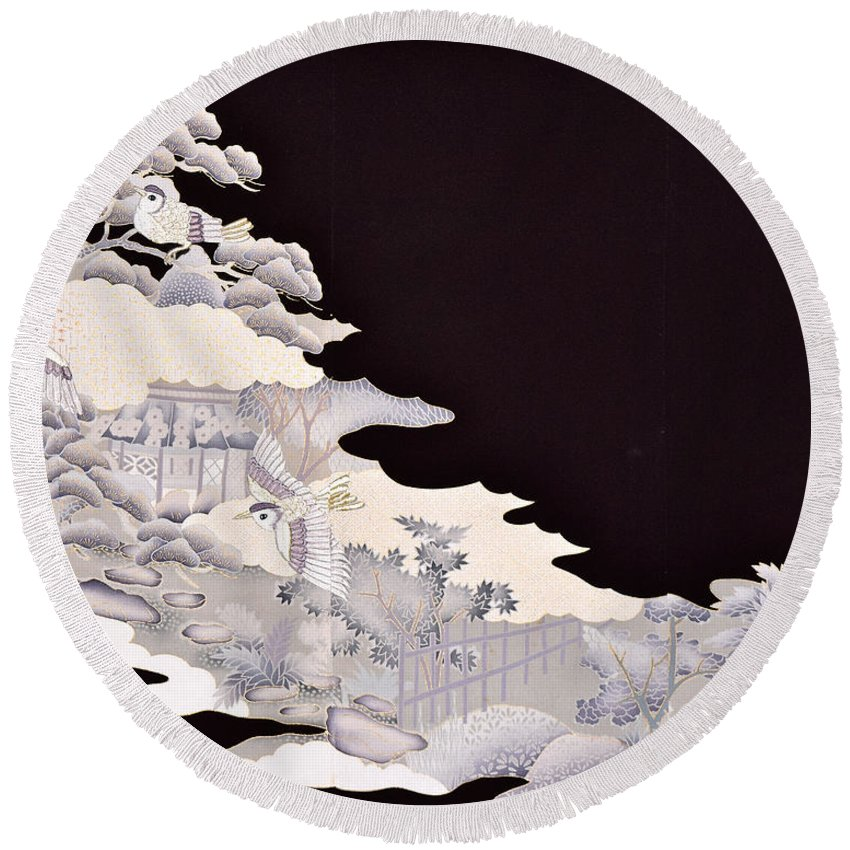 Round Beach Towel featuring the digital art Spirit of Japan T19 by Miho Kanamori