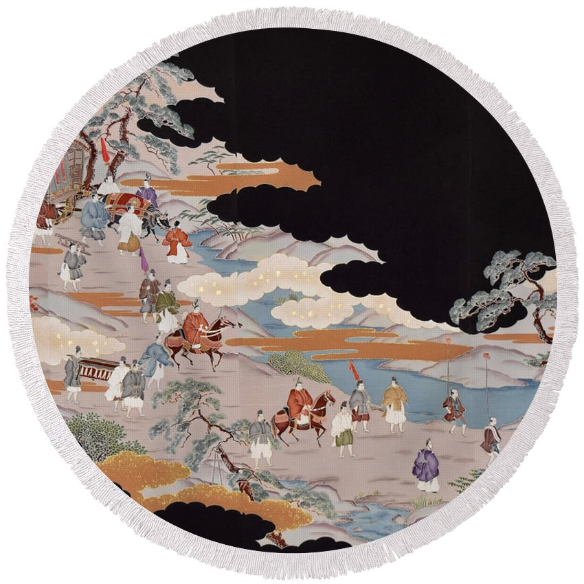 Round Beach Towel featuring the digital art Spirit of Japan T85 by Miho Kanamori