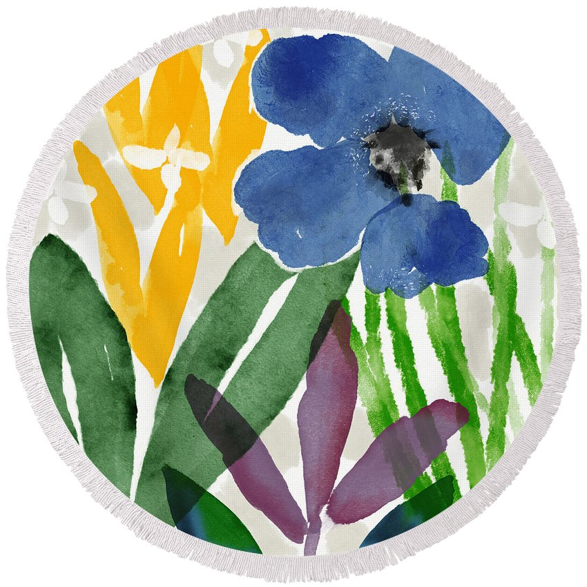 Garden Round Beach Towel featuring the mixed media Spring Garden Blue- Floral Art By Linda Woods by Linda Woods